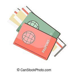 International passports with tickets isolated on white background. Travel abroad