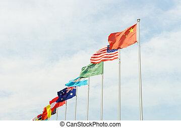 international, pays, drapeaux, classer