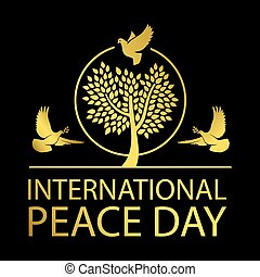 International peace day gold emblem