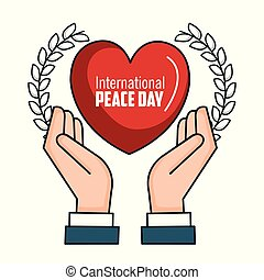 international peace day hands heart poster