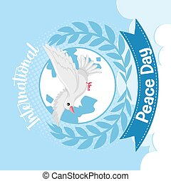 International Peace Day logo or banner with a white dove