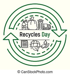 International recycles day concept background, outline style