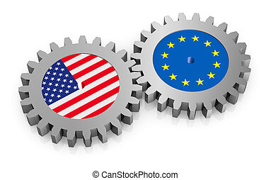international relations - two gears with the flags of usa ...