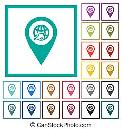 International route GPS map location flat color icons with quadrant frames