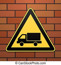 International safety warning sign. Watch out for the car The sign on the brick wall background. Black image on a yellow triangle. Vector