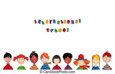 international school - Colorful illustration for children