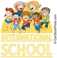 International school sign with happy children