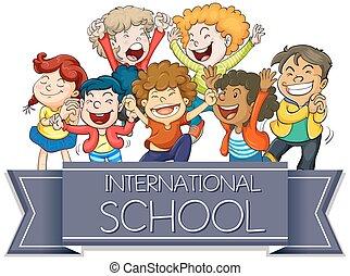 International school sign with happy children