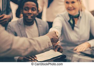international, secousse, sourire, mains, partenaires, fin, haut., business