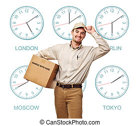 international service - nine time zone clock and smiling...