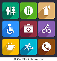 International Service Signs Flat Icons Set 39