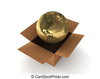 International shipping. Golden globe in box isolated on...