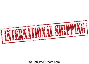 Rubber stamp with text international shipping inside, vector illustration