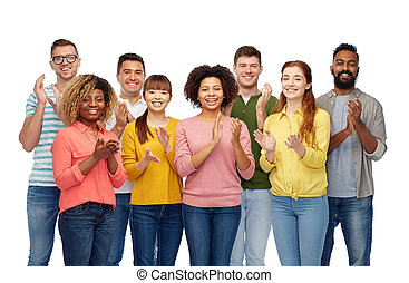 international, sourire heureux, groupe, gens
