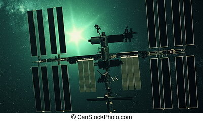 International Space Station charging solar battery