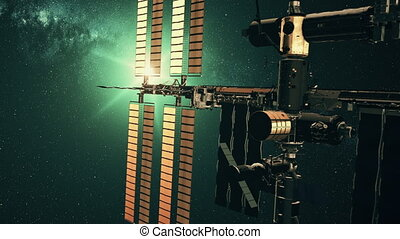 International Space Station in outer space light - Modern...