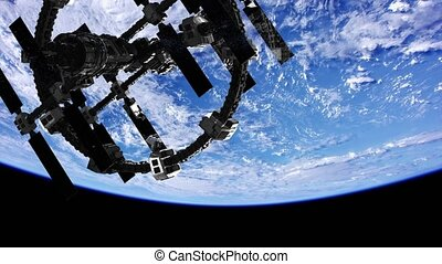 International Space Station in outer space over the planet...