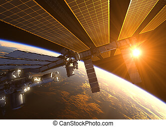 International Space Station In The Rays Of Red Sun