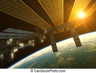 International Space Station In The Rays Of Sun Sun Above The Earth