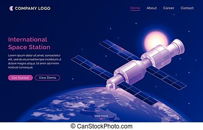 International space station isometric landing page, satellite or spaceship orbiting Earth in starry sky, iss cosmos exploration, outer universe scientific mission, 3d vector illustration, web banner