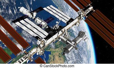 International Space Station ISS revolving over earths atmosphere. Space Station Orbiting Earth. 3D Animation.