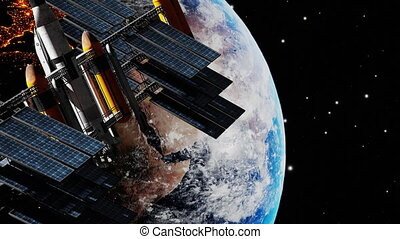 Modern international space station navigation satellite orbiting the earth. Spaceship floating in univers transmitting informations, shuttle into atmosphere. Images from NASA. 3D render animation