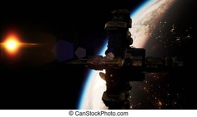 International Space Station over the planet Earth