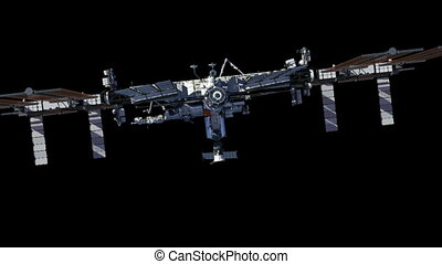 International Space Station With Alpha Matte. 3D Animation.