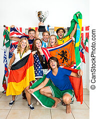 International Sports fans - Group of young sports fans from...