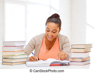 international student studying in college - education and...