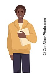 International student with book, African American guy in ...