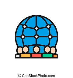 International team of workers flat color line icon.