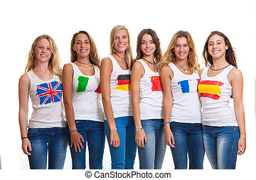 International teens and flags.