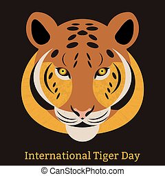 International Tiger Day. July 29. Wild mammal is an animal. Cartoon style. Some elements with a texture