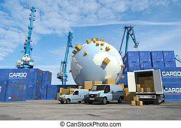 Transportation fleet on a commercial dock, and the Earth surrounded by packages