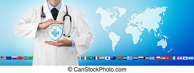 international travel medical insurance concept, doctor's hands protect an shield cross icon, isolated on blue background with world map and flags, web banner template