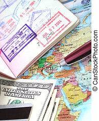 International Travel Series (Passport, map, pen, hundred...