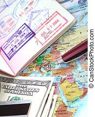 International Travel Series (Passport, map, pen, hundred dollar bills, credit card)