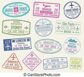 International travel visa passport stamps vector set. Paris...
