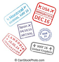 International travel visa stamps isolated on white. Passport rubber stamp imprints