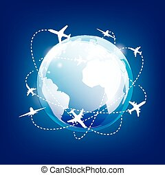international traveling by airplane,