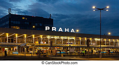 Night view of international Vaclav Havel airport in Prague, Czech Republic.