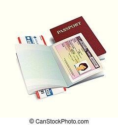 international, vecteur, colombie, passeport, visa