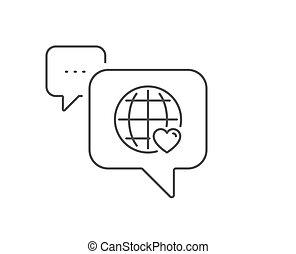 international, vecteur, ligne, symbole., amour, icon., coeur