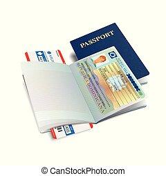 international, vecteur, visa, passeport, dominicana
