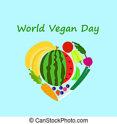 International vegan day concept background, flat style -...