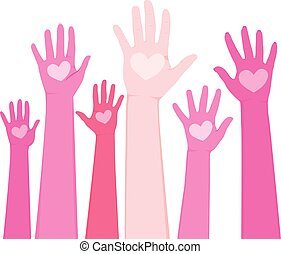 Raised up human hands in different shades of pink and heart on palm international volunteer day concept