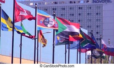 International waving flags.