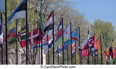International waving Flags in the Netherlands.
