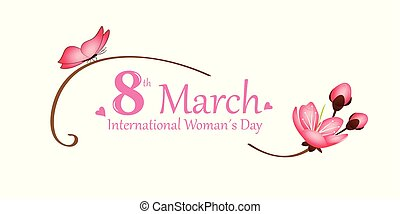 international womans day on 8th march pink butterfly and cherry blossom